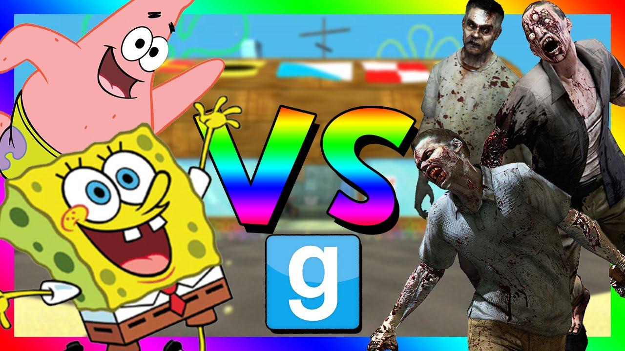 spongebob vs zombies gmod sandbox funny moments youtube