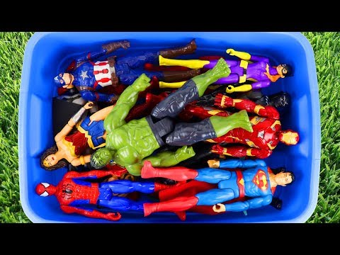 Learn Superhero Character Names With Toys In Blue Toy Bucket With Pretend Magic