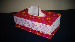 DIY EASY |Tissue box| Made with ( paper, lase, pearl) Step by Step | Art Strategy |