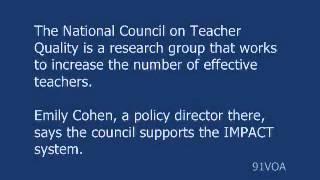 [91VOA]How Much Should a Teacher's Job Depend on Test Scories