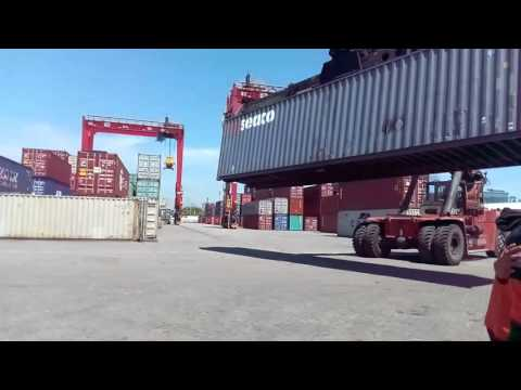 Reach stacker at Tanjung Priok port, Jakarta - Indonesia