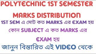 Polytechnic 1st sem Marks Distribution|| Marks for particular subject