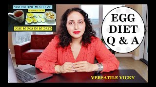 Egg Diet For Weight Loss | Versatile Vicky Egg Diet | HOW TO LOSE WEIGHT FAST 10Kg in 10 Days