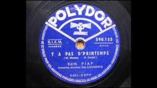 Watch Edith Piaf Ya Pas Dprintemps video