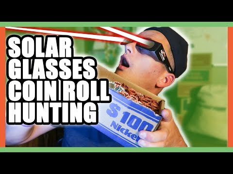 SOLAR ECLIPSE GLASSES WHILE COIN ROLL HUNTING!! LOOKING FOR