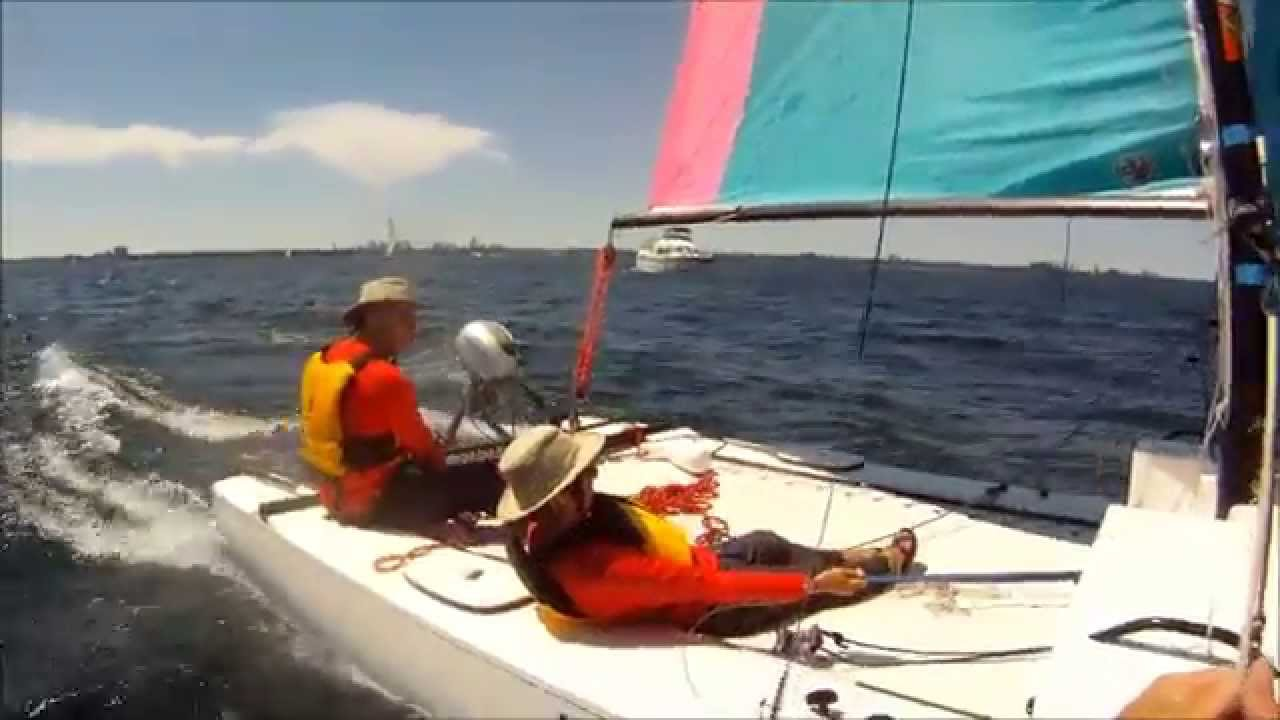 Sailing with Phil and Pat on their Hobie 21 Sport Cruiser 2014-07-05