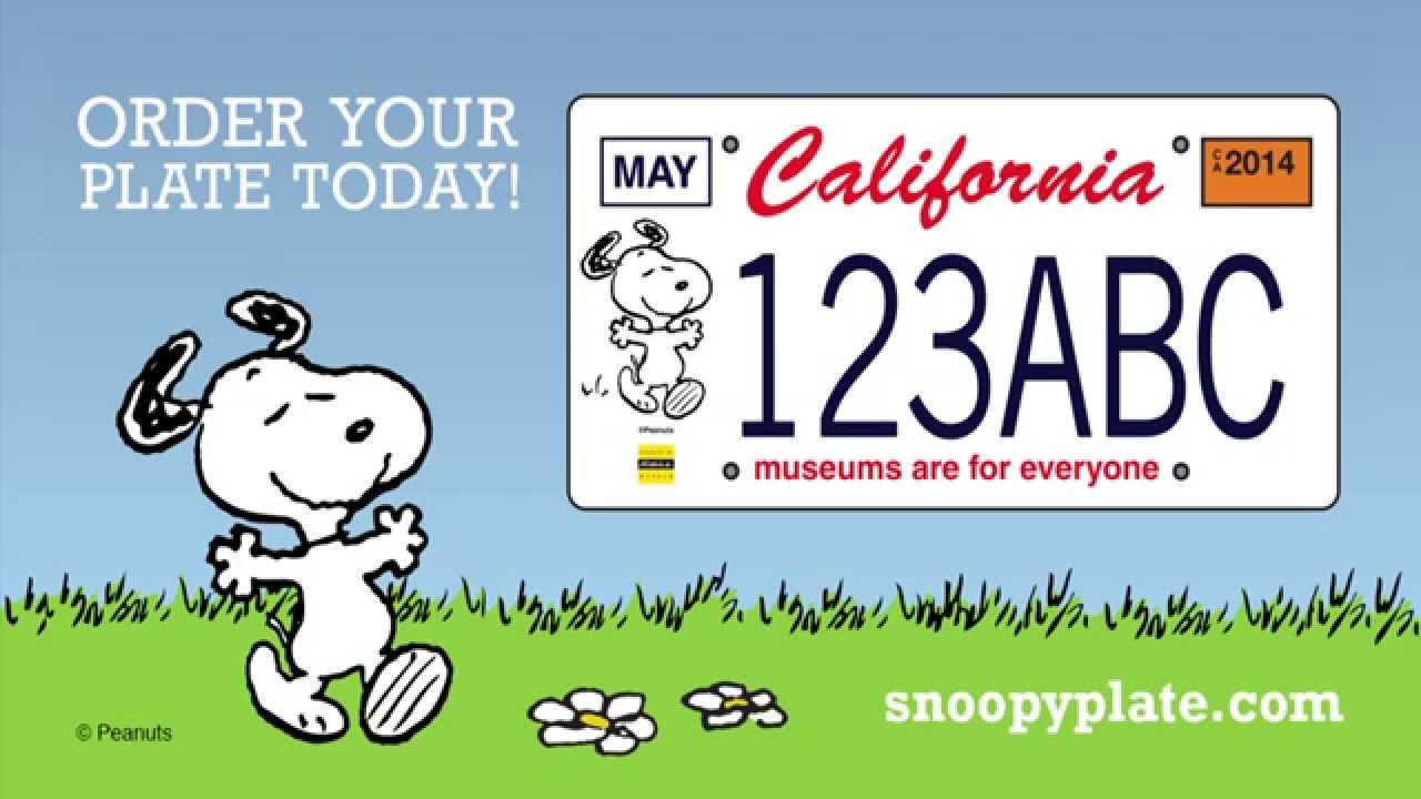 A Snoopy license plate delivers more than mere peanuts to