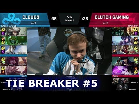 Cloud 9 vs Clutch Gaming - Tie Breaker #5 | S8 NA LCS Spring 2018 | C9 vs CG W9D2 Tie