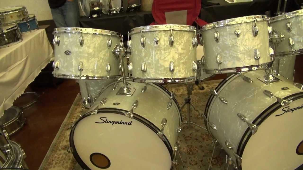 jdg drums booth at the 2012 chicago drum show vintage slingerland wmp double bass drum kit. Black Bedroom Furniture Sets. Home Design Ideas