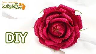 как сделать розу из гофрированной бумаги с конфетой внутри