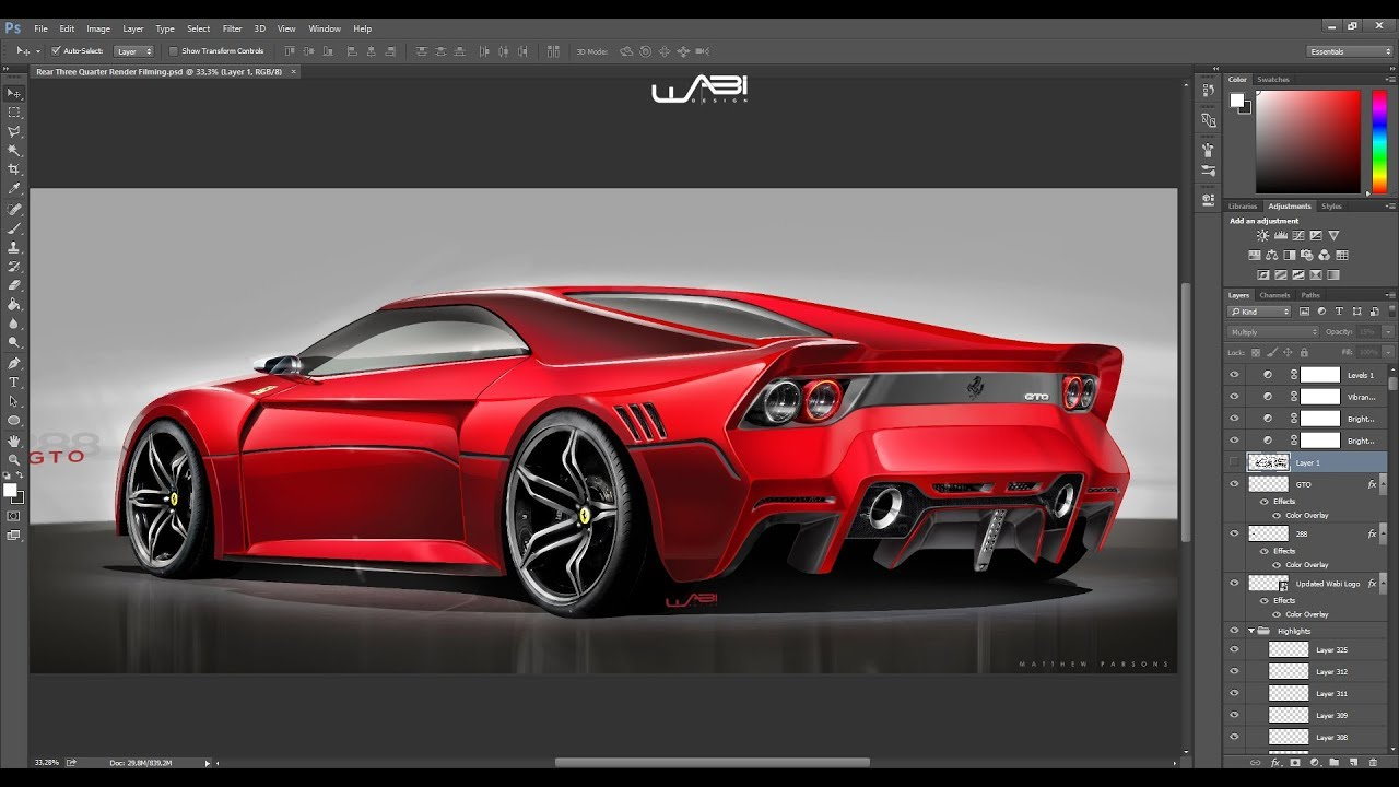 2020 ferrari 288 gto photoshop rendering tutorial  3 min