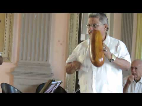 Percussion/gourd - music performance on antique instruments, Cuba 2015