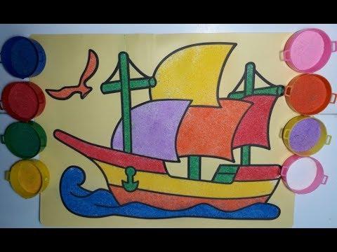 Mewarnai Perahu Layar Dengan Pasir Warna Warni Edukasi Video Anak