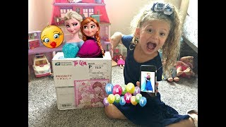 Baby Gia gets SURPRISE BIRTHDAY Package Gift in Mail From Anna and Elsa! Drives Red Jeep to mailbox!