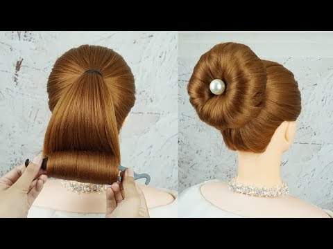 New Bun Hairstyles With Magic Hair Lock - Juda Hairstyle For Wedding Guest | Easy Party Hairstyle thumbnail