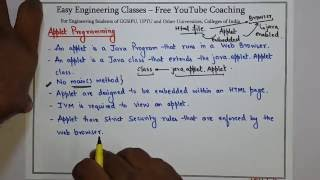 Introduction to Applet Programming, Applet Life Cycle, First Applet Example