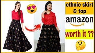 Ethnic skirt & top review & try on | amazon online haul | ethnic skirt with shirt review | clothing