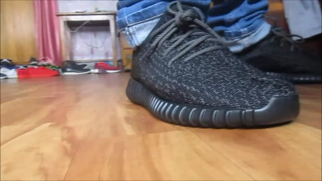79228b0c3 Jessie Yeezy Boost 350 Pirate black on feet - YouTube