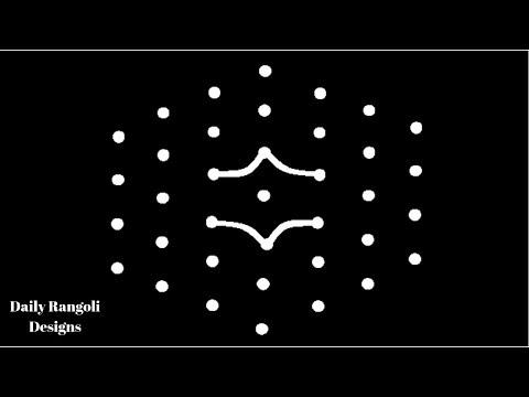 Sankranthi Muggulu Designs #20 | Pongal Kolam | Kolam Rangoli 7X4 Dots | Easy Simple Color Kolangal