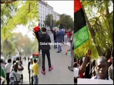 Video) Happening Now! Renowned IPOB ''Sabo'' Does This,In An Ongoing Pr0test In Germany, As Biafrans