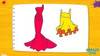 Как Нарисовать Платья для Девочек. Учимся Рисовать Простые Рисунки. Уроки Рисования для Начинающих