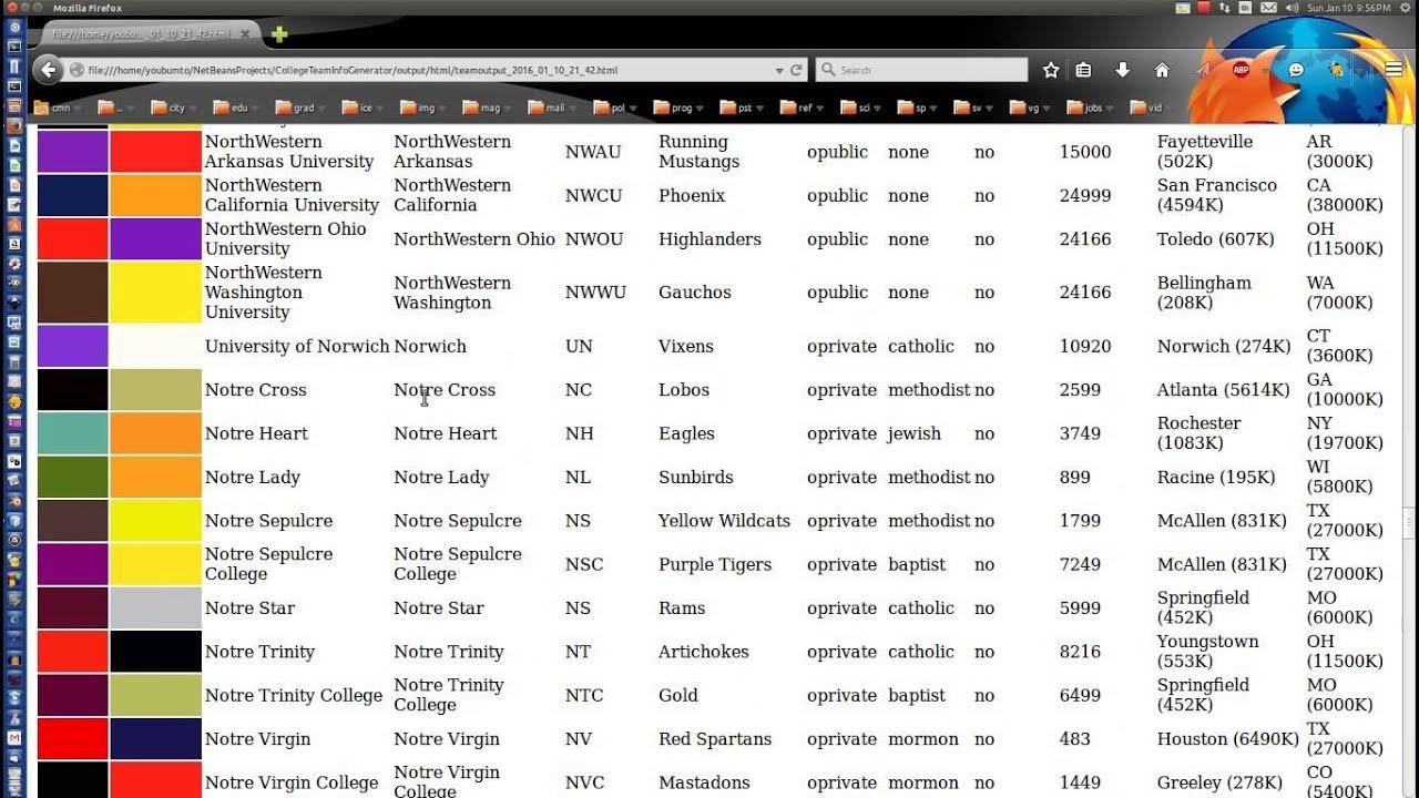 Team Names: College Sports Team Name Generator Demo (JavaFX)