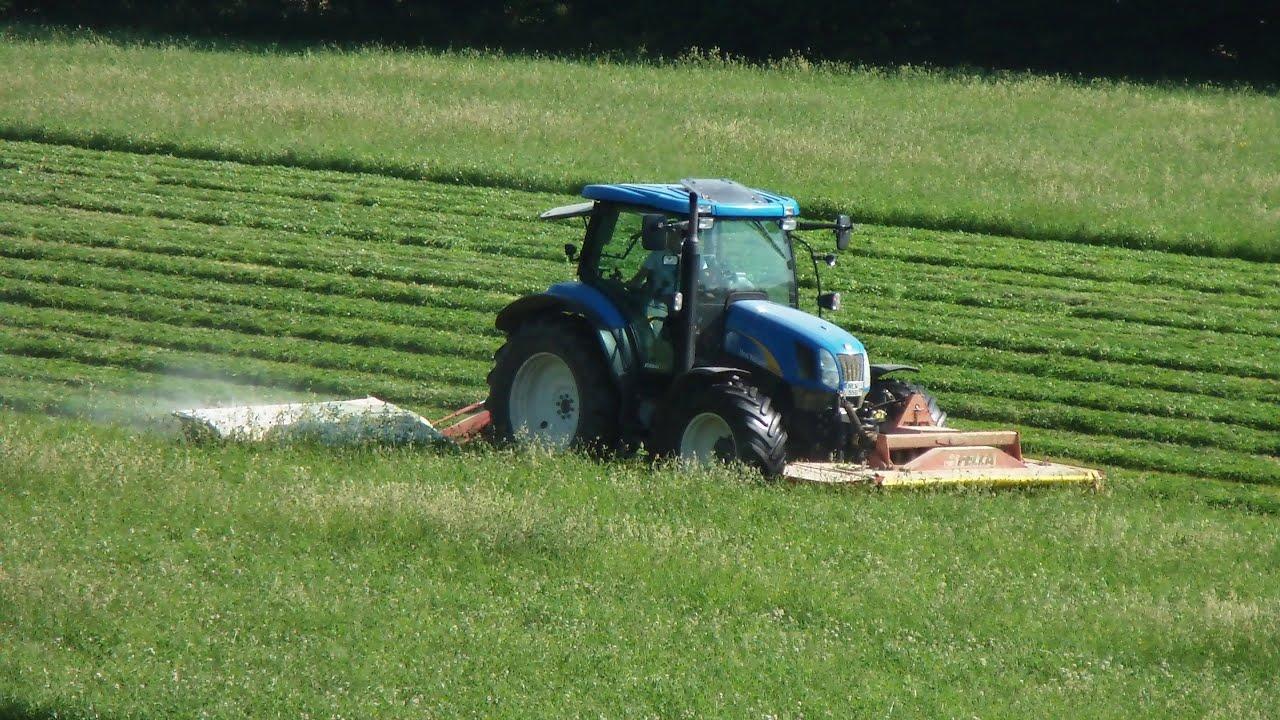 Lieblings Heuernte Teil 1 New Holland Traktor mit Front- und Heck- Mähwerk #BM_17