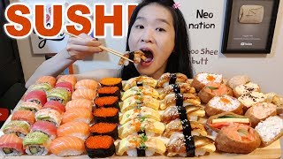 YUMMY SUSHI FEAST!! Salmon & Tuna Nigiri, Sushi Rolls | Japanese Food Mukbang w/ Asmr Eating Sounds