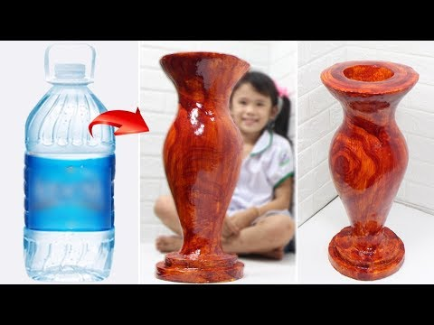 Big size faux wood Flower Vase from plastic bottle