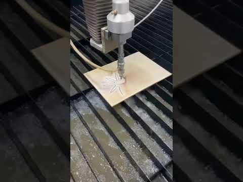 Работа гидроабразивной резки на примере керамической плитки