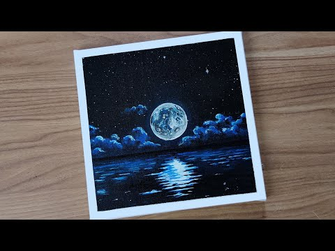 -Acrylic painting of beautiful Moonlight night sky landscape | step by step | ASMR