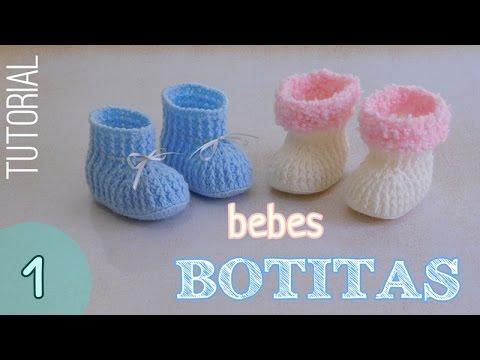 Como tejer botitas para bebes (1/2) - YouTube