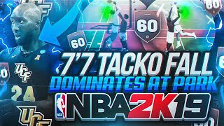 """7'7"""" TACKO FALL DOMINATES THE PARK AS A 60 OVERALL ON NBA 2K19! THE BEST CENTER BUILD IN NBA 2K19!"""