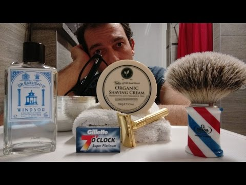 Gillette Tech Gold Vintage - Omega 6735 - Taylor Organic - 7 O'Clock Blue - DR Harris Windsor