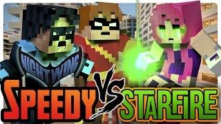 Minecraft Superhero: Nightwing and Speedy vs Starfire!
