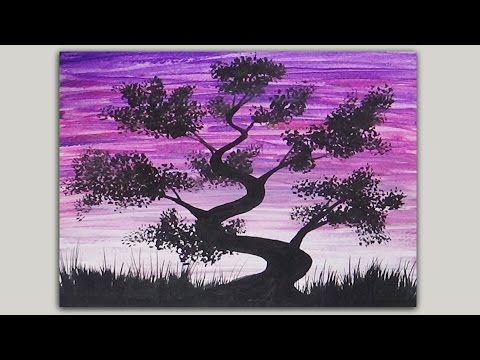 Acrylic painting simple silhouette painting bonsai for Easy pictures to paint on canvas