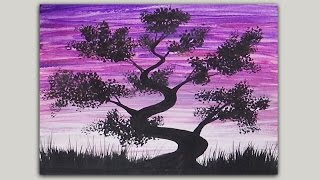 Acrylic Painting Simple Silhouette Painting Bonsai Tree Painting Easy To Paint Youtube