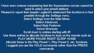 Logitech Squeezebox ... How to program your small remote to access preset stations