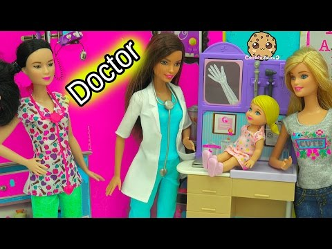 Girl with Broken Arm - A Day with Pediatrician Doctor + Nurse Barbie Doll Medical Center Playsets