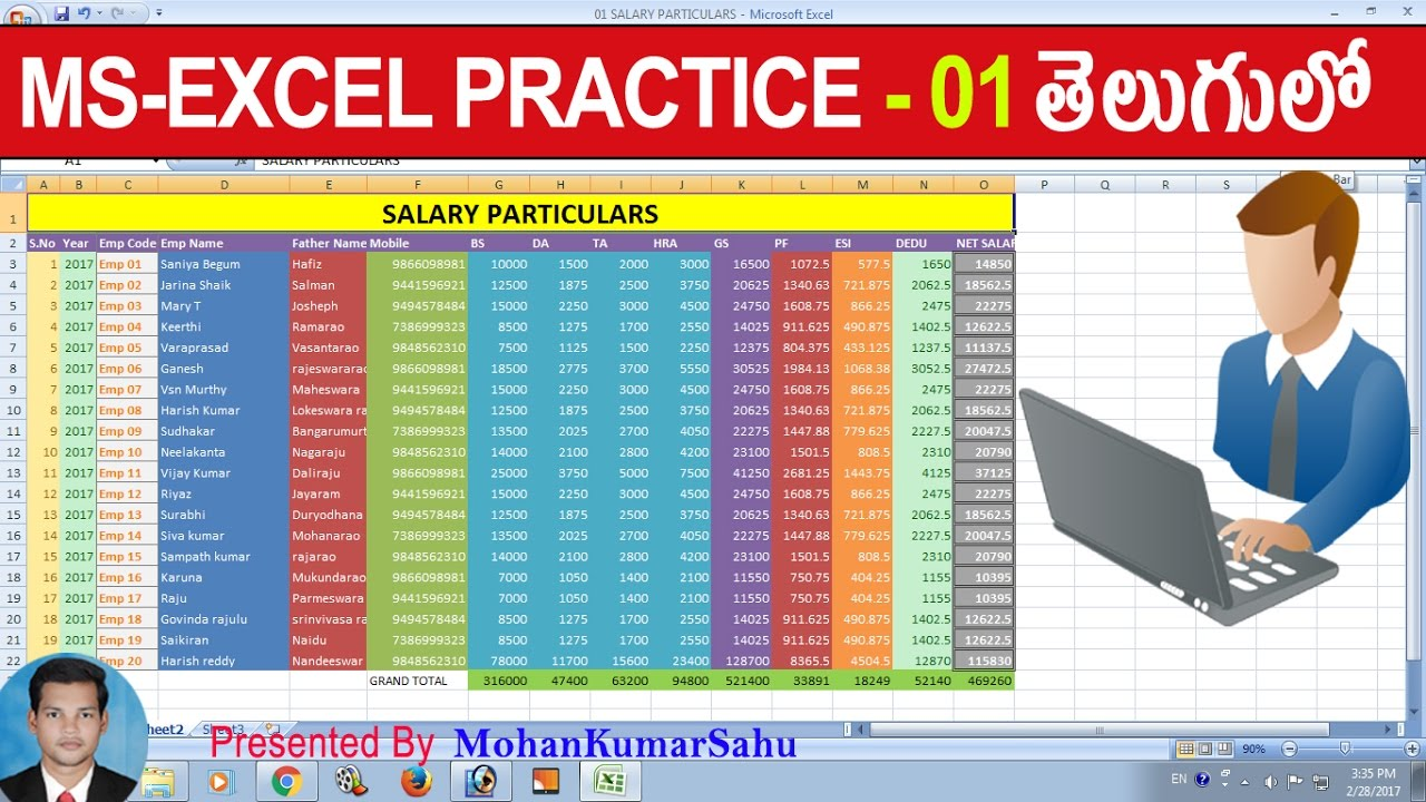 01 How to Make Salary Sheet in Excel in Telugu |Excel Practice Tutorials in  Telugu | LEARN COMPUTER