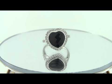Estate 14k Gold 3.51ct Faceted Black Onyx & White Topaz Heart Shaped Ring