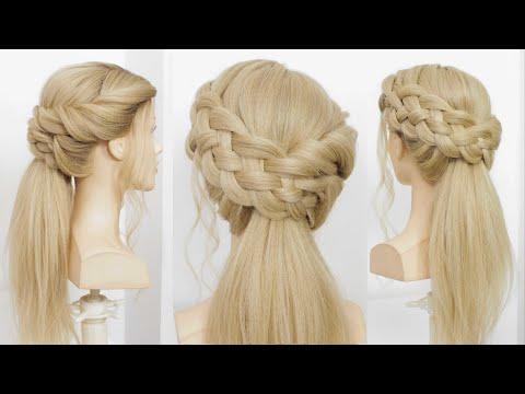 Прически для длинных волос | Модный низкий хвост с косой