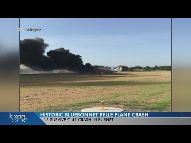 Crash destroys WWII-era plane in Burnet; all 13 aboard survive