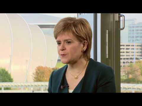 The BBC's Brian Taylor interviews Nicola Sturgeon at the 2016 SNP Conference.