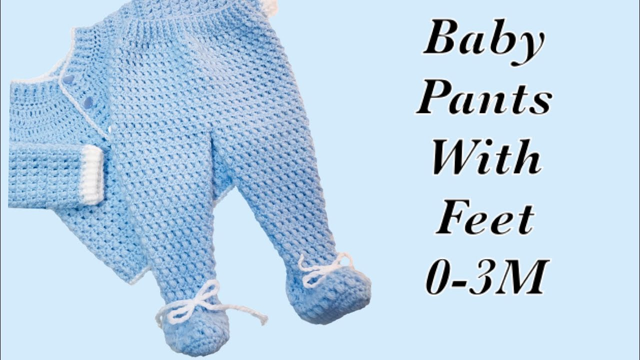 2d6f33c0a Baby Boy Set: How to crochet newborn baby pants with feet | booties 0-6M  LEFT -Crochet for Baby#172