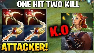Attacker! 2x Rapier Kunkka One Hit Two Kill -- Crazy Armlet Usage