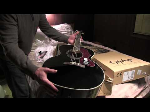 Unpacking Epiphone EJ-200 Artist Acoustic Guitar