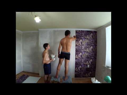 Ремонт моей комнаты-Клеим обои-Timelapse