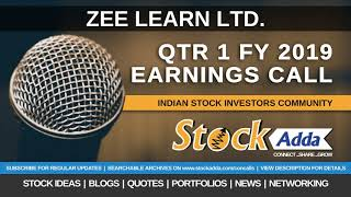Zee Learn Ltd Investors Conference Call Qtr1 FY19