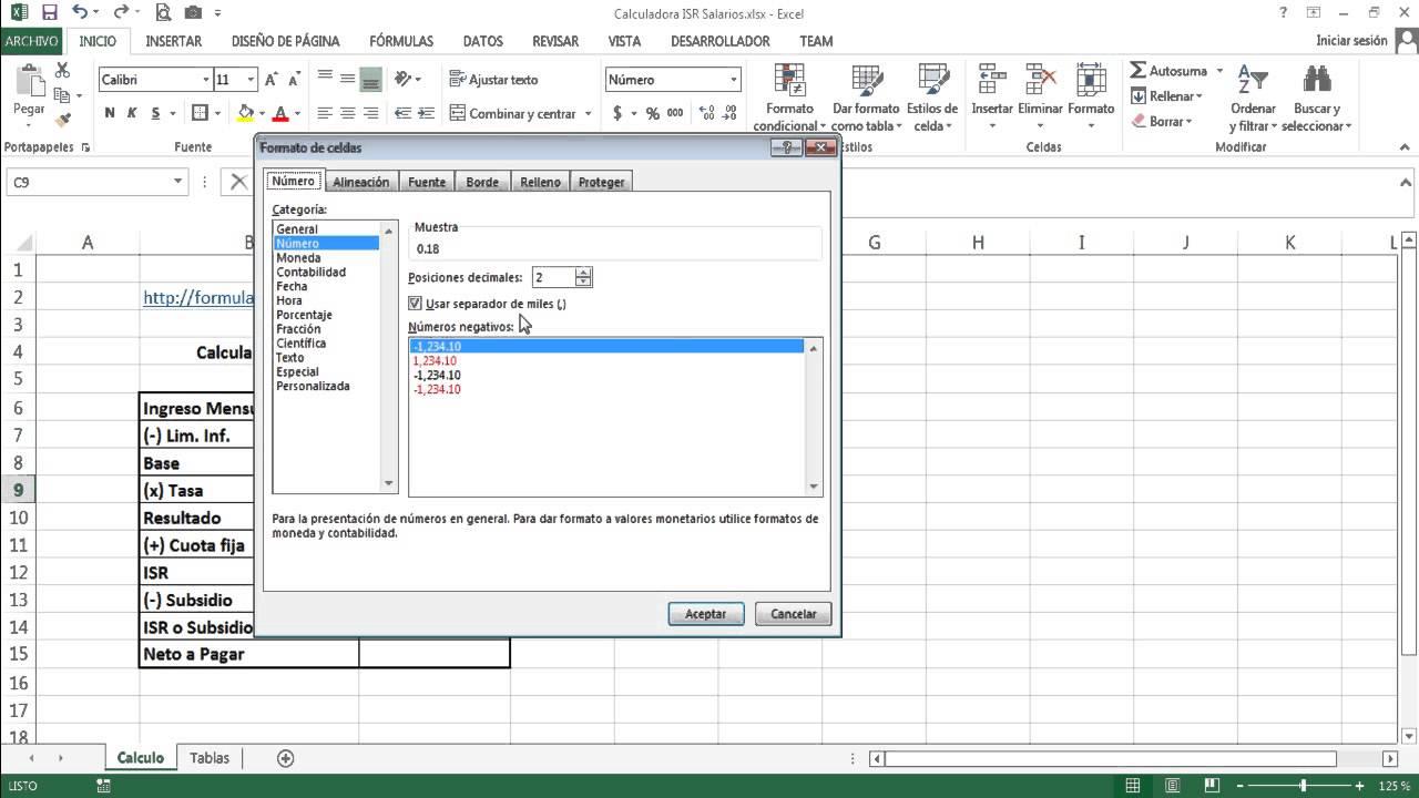 Formulas Excel Para Calcular Isr De Salarios Youtube